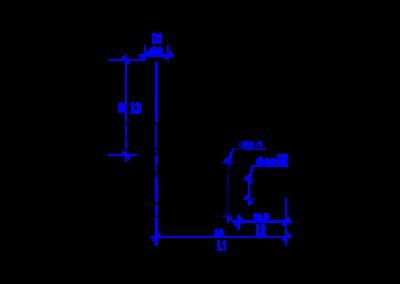 Technische Zeichnung von einem DREHMEISTER Winkelstück 90° Rohrstutzen 6mm für Flexleitung 6mm
