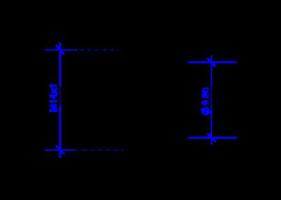 Technische Zeichnung von einer DREHMEISTER Überwurfmutter M14x1 für Flexleitung 6mm